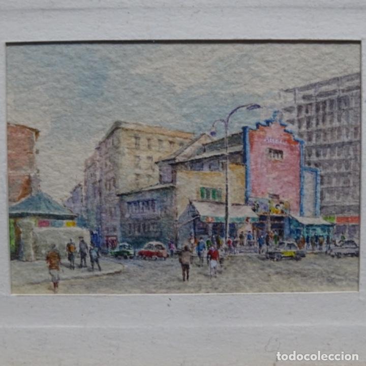 EXCELENTE ACUARELA EN MINIATURA ANÓNIMA DE BARCELONA.PARALELO CINE ARNAU. (Arte - Acuarelas - Contemporáneas siglo XX)
