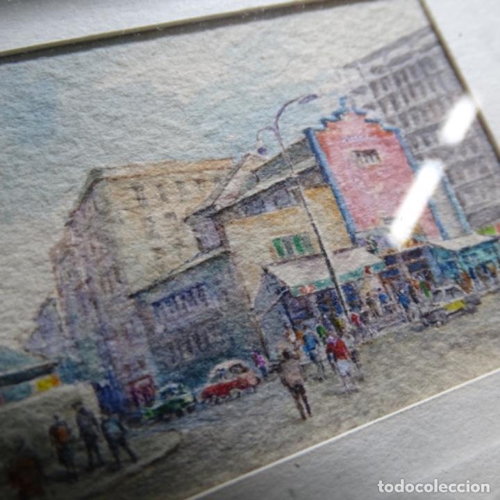 Arte: Excelente acuarela en miniatura anónima de barcelona.paralelo cine Arnau. - Foto 3 - 199678838