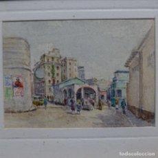Arte: EXCELENTE ACUARELA EN MINIATURA ANÓNIMA DE BARCELONA.MERENDEROS DE LA BARCELONETA.. Lote 199679125