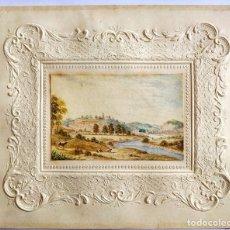 Arte: PRECIOSO PAISAJE DE PRINCIPIOS DEL SIGLO XIX CIRCA 1810, GRAN DETALLE, VACAS PASTANDO JUNTO A UN RIO. Lote 199814726