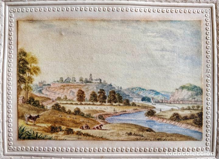 Arte: Precioso paisaje de principios del siglo XIX circa 1810, gran detalle, vacas pastando junto a un rio - Foto 2 - 199814726