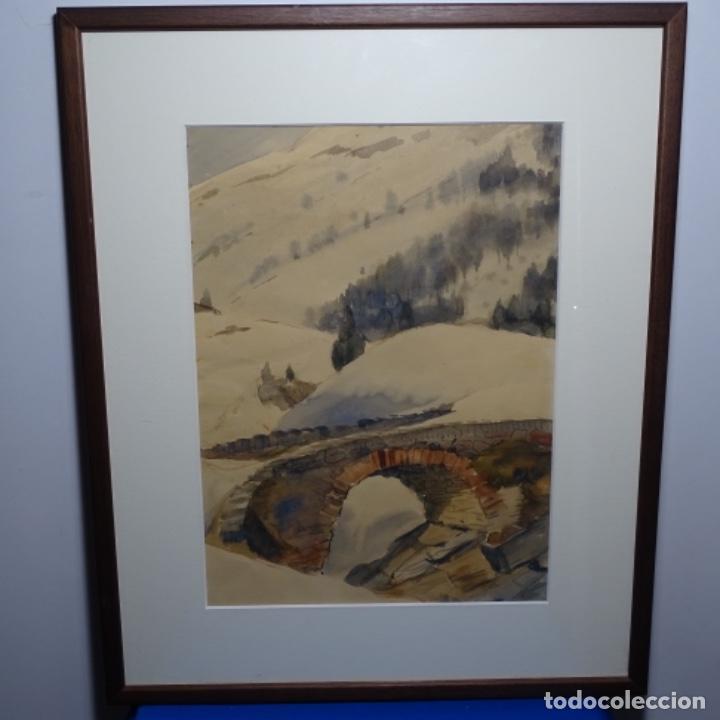 Arte: Bonita acuarela de floreal soriguera(pintor de Terrassa).suri.años 50-60.Paisaje nevado. - Foto 2 - 199889756