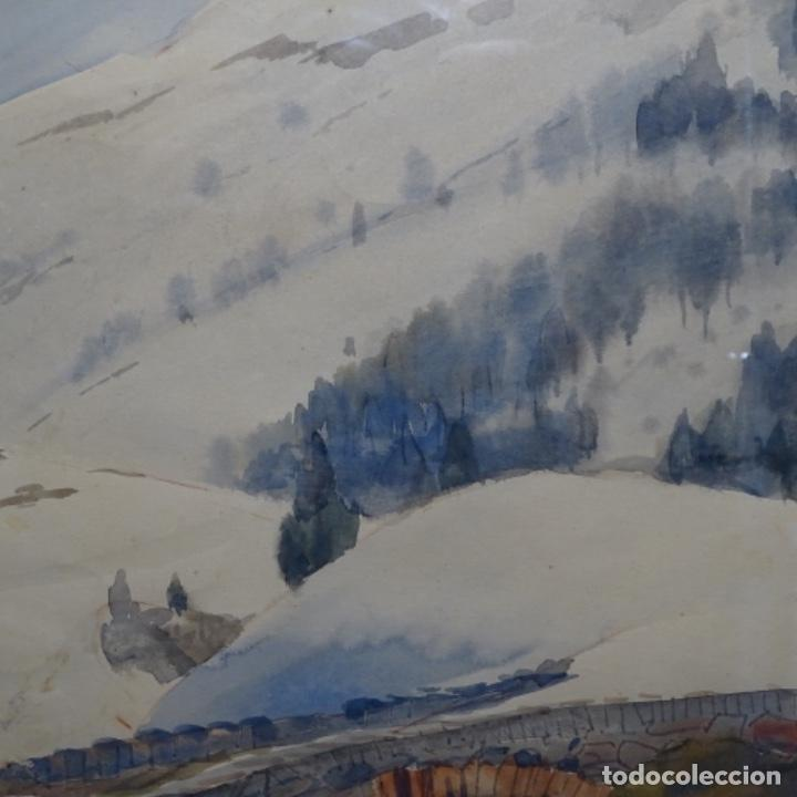 Arte: Bonita acuarela de floreal soriguera(pintor de Terrassa).suri.años 50-60.Paisaje nevado. - Foto 3 - 199889756