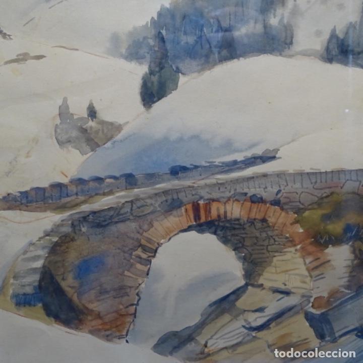 Arte: Bonita acuarela de floreal soriguera(pintor de Terrassa).suri.años 50-60.Paisaje nevado. - Foto 4 - 199889756