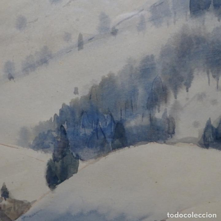 Arte: Bonita acuarela de floreal soriguera(pintor de Terrassa).suri.años 50-60.Paisaje nevado. - Foto 5 - 199889756