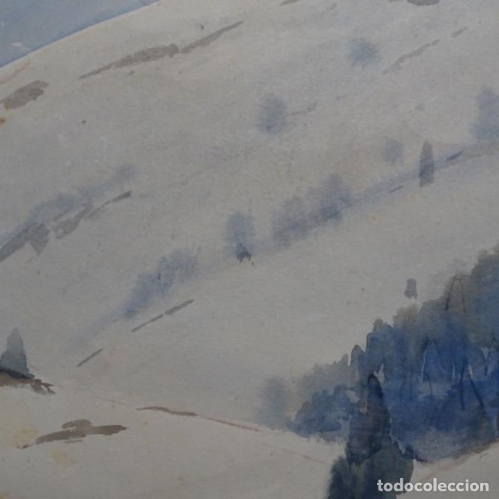 Arte: Bonita acuarela de floreal soriguera(pintor de Terrassa).suri.años 50-60.Paisaje nevado. - Foto 6 - 199889756