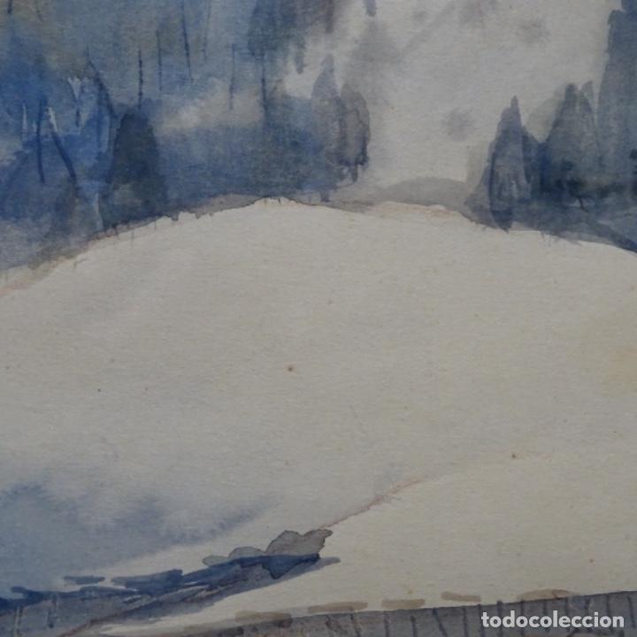 Arte: Bonita acuarela de floreal soriguera(pintor de Terrassa).suri.años 50-60.Paisaje nevado. - Foto 8 - 199889756