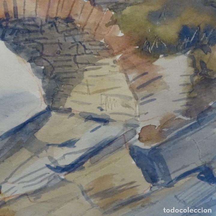 Arte: Bonita acuarela de floreal soriguera(pintor de Terrassa).suri.años 50-60.Paisaje nevado. - Foto 9 - 199889756