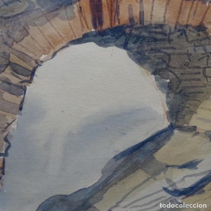 Arte: Bonita acuarela de floreal soriguera(pintor de Terrassa).suri.años 50-60.Paisaje nevado. - Foto 10 - 199889756
