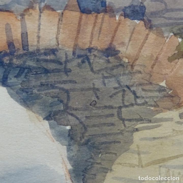 Arte: Bonita acuarela de floreal soriguera(pintor de Terrassa).suri.años 50-60.Paisaje nevado. - Foto 11 - 199889756