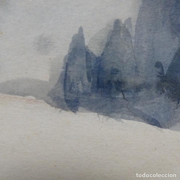 Arte: Bonita acuarela de floreal soriguera(pintor de Terrassa).suri.años 50-60.Paisaje nevado. - Foto 12 - 199889756