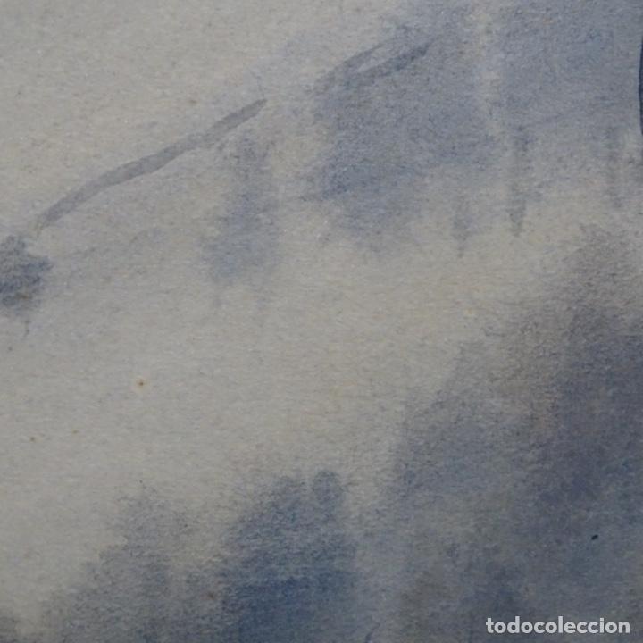 Arte: Bonita acuarela de floreal soriguera(pintor de Terrassa).suri.años 50-60.Paisaje nevado. - Foto 13 - 199889756
