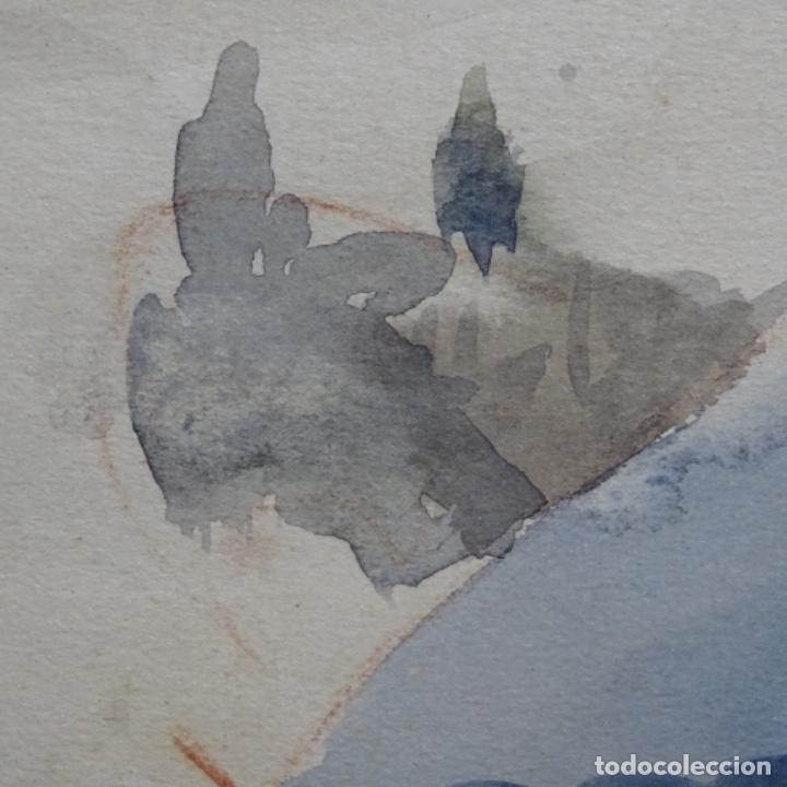 Arte: Bonita acuarela de floreal soriguera(pintor de Terrassa).suri.años 50-60.Paisaje nevado. - Foto 15 - 199889756