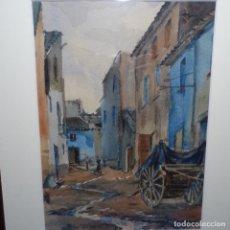 Arte: BONITA ACUARELA DE FLOREAL SORIGUERA(PINTOR DE TERRASSA).SURI.AÑOS 50-60.CALLE CON CARRETA.. Lote 199889767