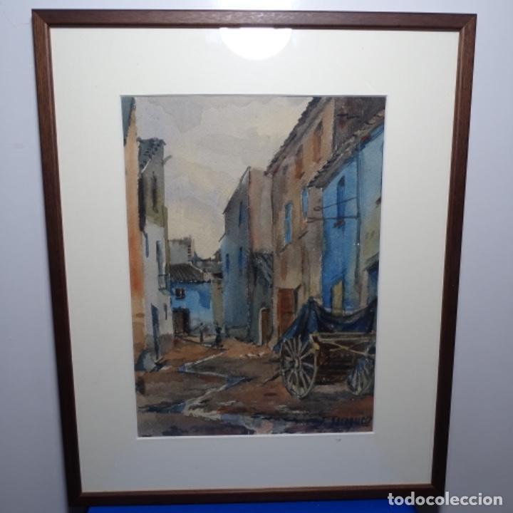 Arte: Bonita acuarela de floreal soriguera(pintor de Terrassa).suri.años 50-60.Calle con carreta. - Foto 2 - 199889767