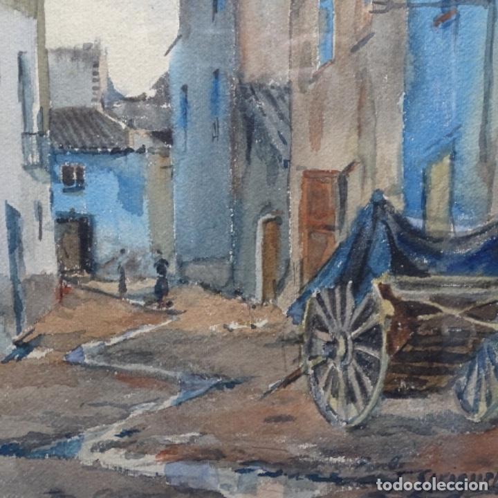 Arte: Bonita acuarela de floreal soriguera(pintor de Terrassa).suri.años 50-60.Calle con carreta. - Foto 4 - 199889767