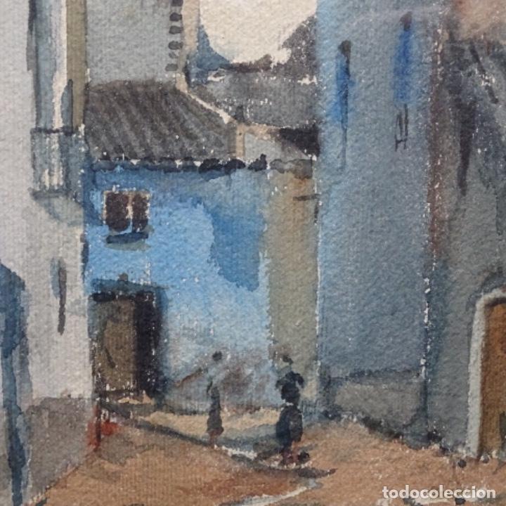 Arte: Bonita acuarela de floreal soriguera(pintor de Terrassa).suri.años 50-60.Calle con carreta. - Foto 5 - 199889767