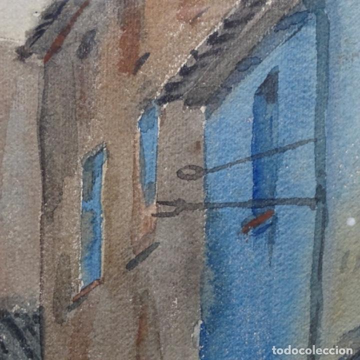 Arte: Bonita acuarela de floreal soriguera(pintor de Terrassa).suri.años 50-60.Calle con carreta. - Foto 6 - 199889767