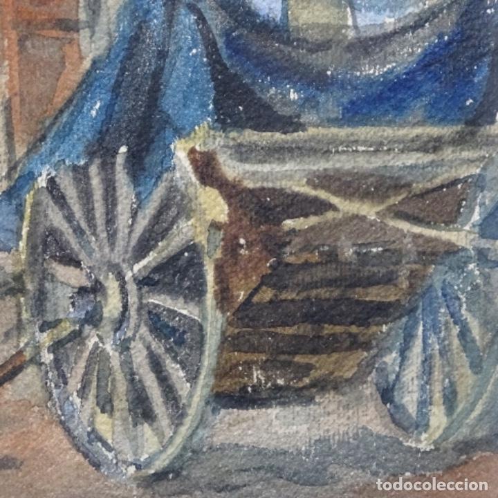 Arte: Bonita acuarela de floreal soriguera(pintor de Terrassa).suri.años 50-60.Calle con carreta. - Foto 7 - 199889767