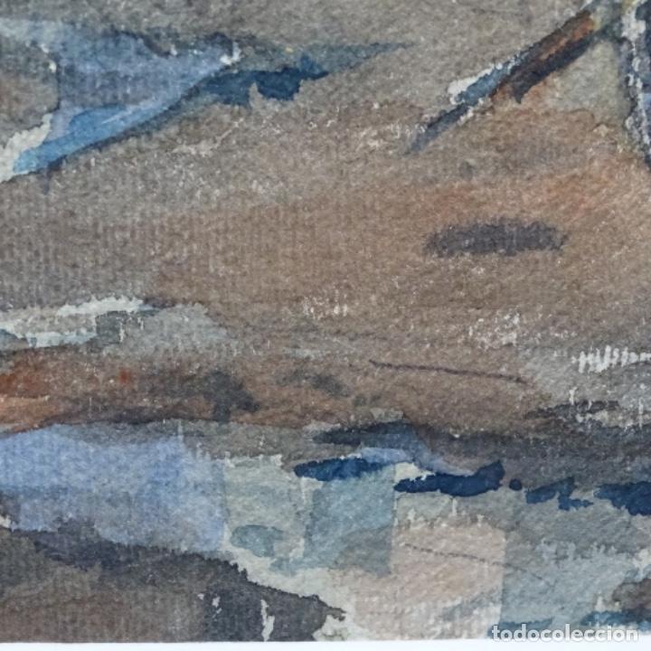 Arte: Bonita acuarela de floreal soriguera(pintor de Terrassa).suri.años 50-60.Calle con carreta. - Foto 8 - 199889767