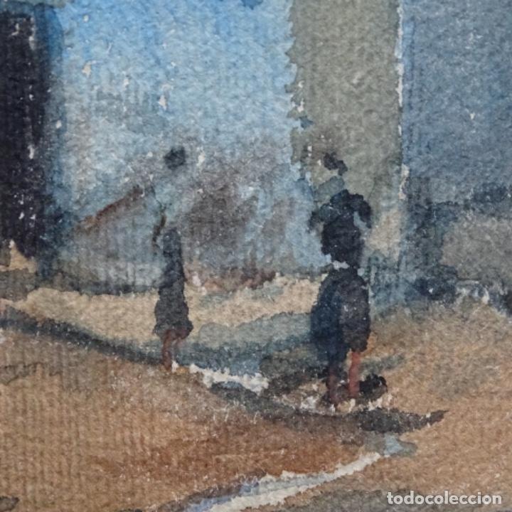 Arte: Bonita acuarela de floreal soriguera(pintor de Terrassa).suri.años 50-60.Calle con carreta. - Foto 9 - 199889767