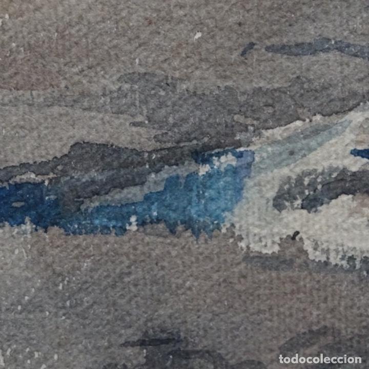 Arte: Bonita acuarela de floreal soriguera(pintor de Terrassa).suri.años 50-60.Calle con carreta. - Foto 11 - 199889767