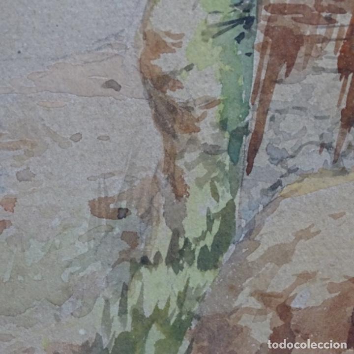 Arte: Excelente acuarela firmada Marin.vista del darro en granada. - Foto 8 - 199982108