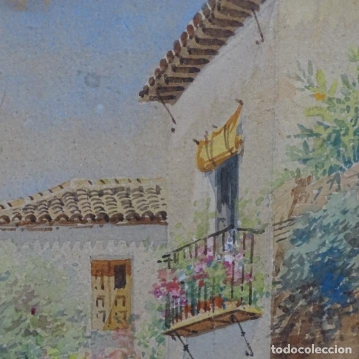 Arte: Excelente acuarela firmada Marin.vista del darro en granada. - Foto 9 - 199982108