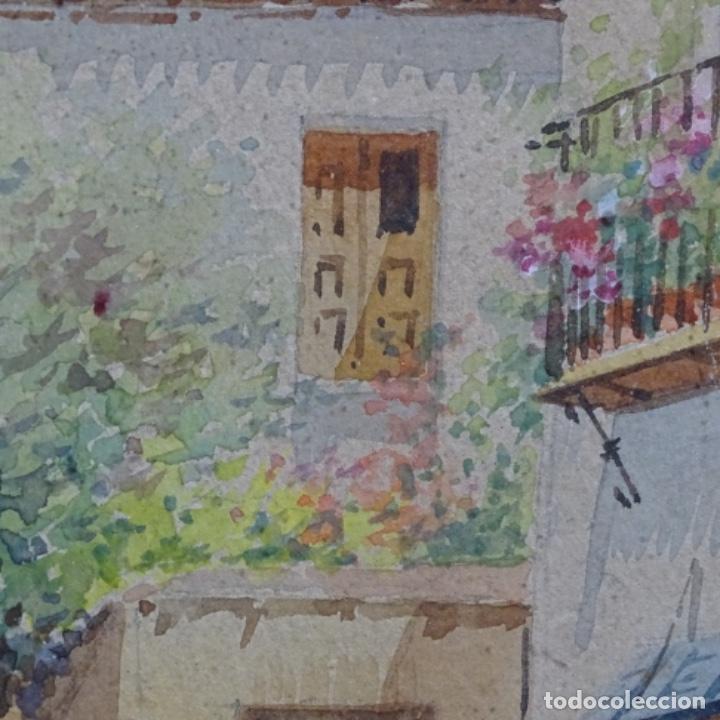 Arte: Excelente acuarela firmada Marin.vista del darro en granada. - Foto 10 - 199982108