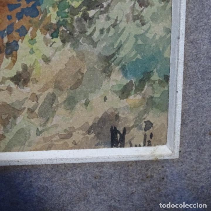 Arte: Excelente acuarela firmada Marin.vista del darro en granada. - Foto 15 - 199982108