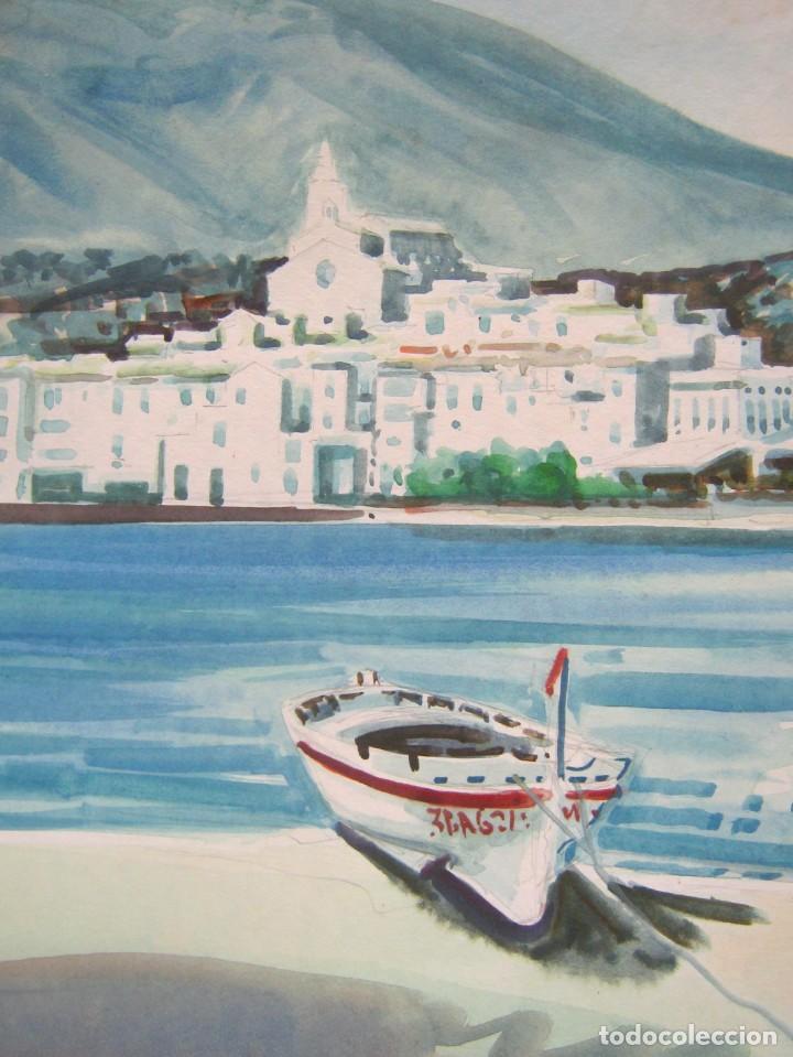 Arte: Cadaques Girona - Bella pintura acuarela firmada - Foto 4 - 200074947