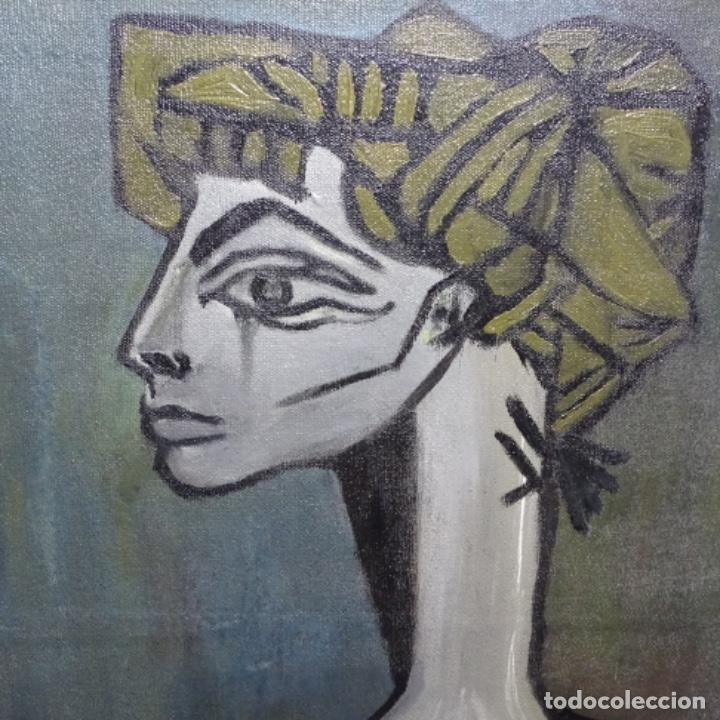 Arte: Óleo reentelado muy antiguo firmado vico.jacqueline de Picasso. - Foto 2 - 200079142
