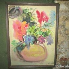 Arte: FLORES ANTIGUA PINTURA XAVIER SOLER ALICANTE AÑOS 50. Lote 200128791