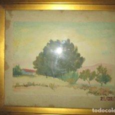 Arte: PAISAJE CON ARBOLES ANTIGUA PINTURA ACUARELA XAVIER SOLER ALICANTE. Lote 200251092