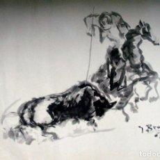 Arte: ESCENA TAURINA. TINTA SOBRE PAPEL. FIRMADO J. BRAVO. 1965. Lote 200511083