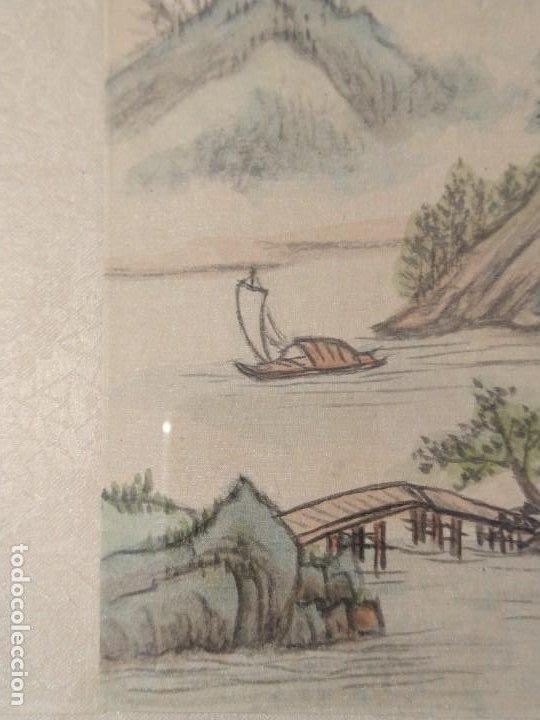 Arte: ESCUELA CHINA. PAREJA DE TÉCNICAS MIXTAS SOBRE SEDA. FIRMADAS Y ENMARCADAS. 1º MITAD S. XX. - Foto 6 - 200532693