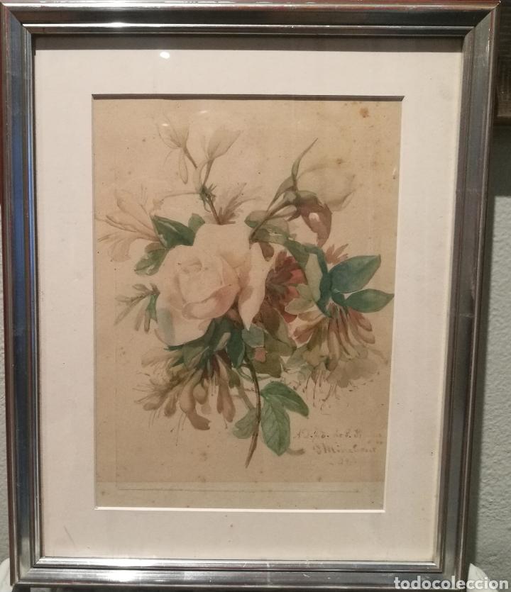 Arte: RAMO DE FLORES POR JOSEP MIRABENT GATELL (1831-99) - Foto 2 - 200554901