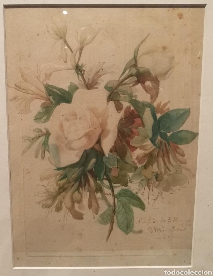 RAMO DE FLORES POR JOSEP MIRABENT GATELL (1831-99) (Arte - Acuarelas - Modernas siglo XIX)
