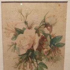 Arte: RAMO DE FLORES POR JOSEP MIRABENT GATELL (1831-99). Lote 200554901