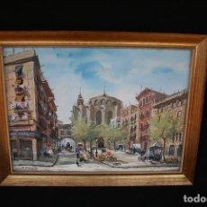 Arte: JOAN ESCAYOLA.(BARCELONA 1908) ESTUPENDA ACUARELA,VISTA URBANA , O DE MERCADO.. Lote 201241410