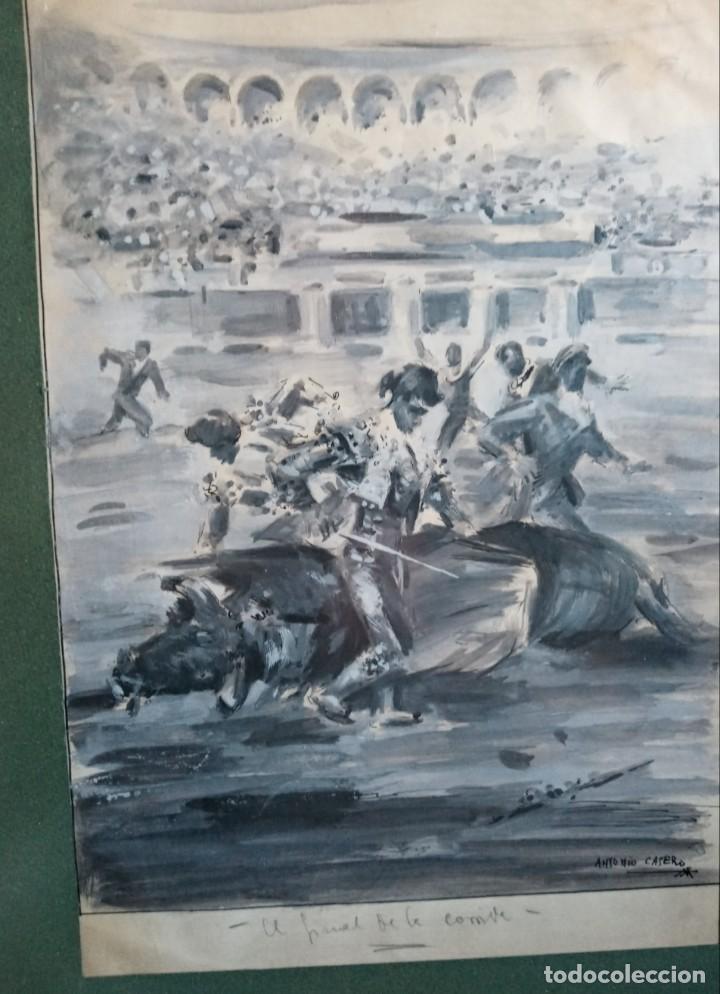 ANTONIO CASERO SANZ (MADRID 1898-1973) EL FINAL DE LA CORRIDA AGUADA (Arte - Acuarelas - Contemporáneas siglo XX)