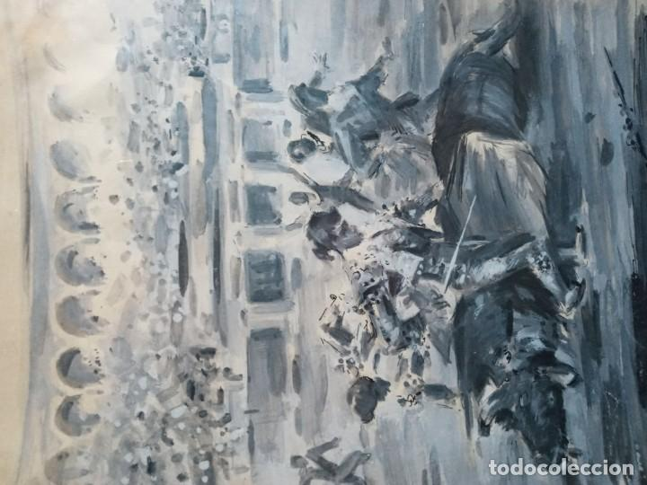 Arte: Antonio Casero Sanz (Madrid 1898-1973) El final de la corrida aguada - Foto 2 - 201267106