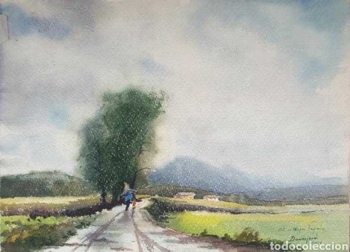 DANÉS JORDI (OLOT, 1935-2006) - PAISAJE CON FIGURAS.FIRMADO.DEDICADO A VAYREDA C.1955. (Arte - Acuarelas - Contemporáneas siglo XX)