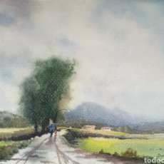 Arte: DANÉS JORDI (OLOT, 1935-2006) - PAISAJE CON FIGURAS.FIRMADO.DEDICADO A VAYREDA C.1955.. Lote 201276250