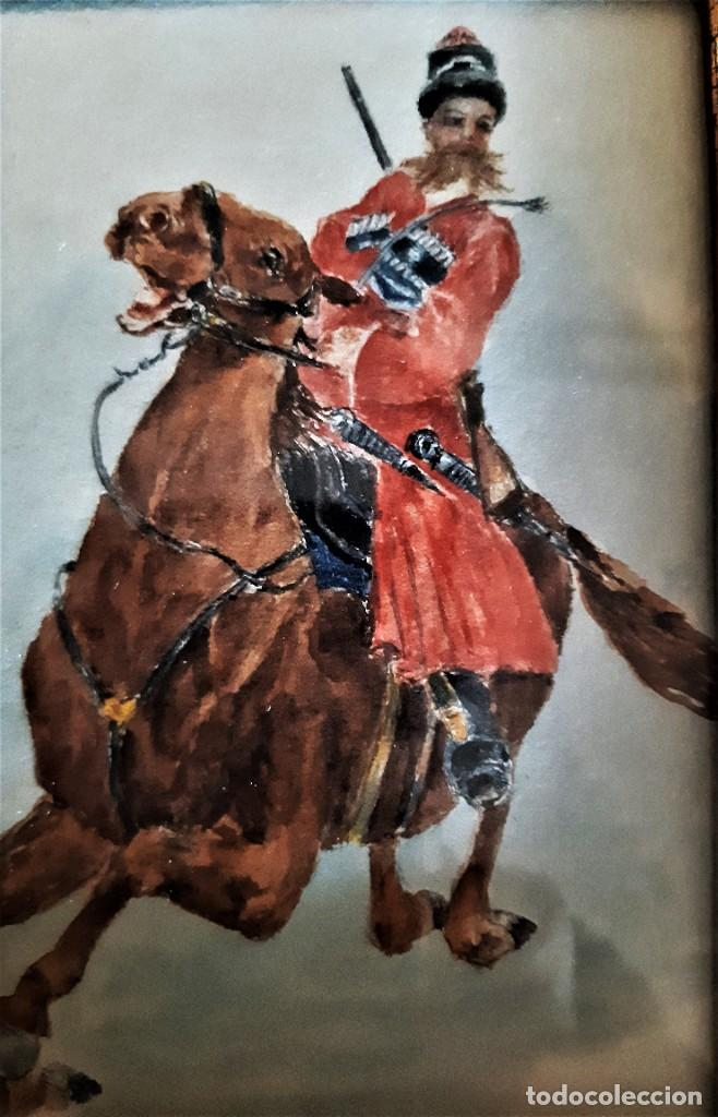 JINETE COSACO (Arte - Acuarelas - Modernas siglo XIX)