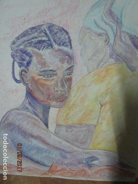 DIBUJO AL PASTEL FIRMADA MUJERES AFRICANAS PINTURA EN PAPEL RUGOSO (Arte - Acuarelas - Contemporáneas siglo XX)
