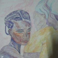 Arte: DIBUJO AL PASTEL FIRMADA MUJERES AFRICANAS PINTURA EN PAPEL RUGOSO. Lote 201837146