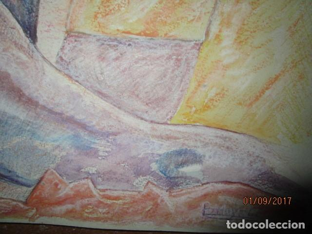 Arte: dibujo al pastel firmada mujeres africanas pintura en papel rugoso - Foto 2 - 201837146