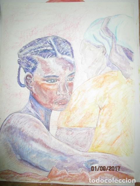 Arte: dibujo al pastel firmada mujeres africanas pintura en papel rugoso - Foto 3 - 201837146