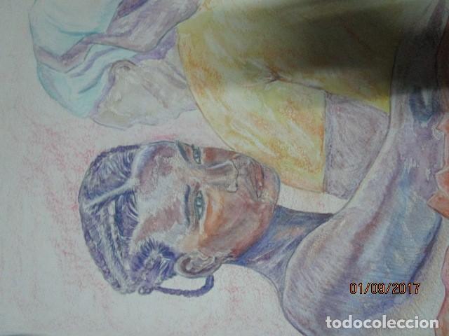 Arte: dibujo al pastel firmada mujeres africanas pintura en papel rugoso - Foto 4 - 201837146